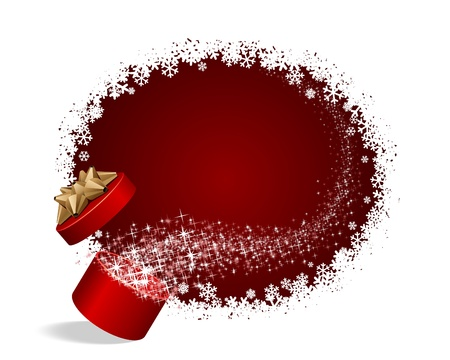 red gift box: Open explore gift with fly stars Christmas vector background Illustration