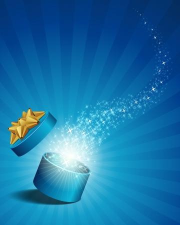 비행 별 벡터 배경으로 선물을 찾아 열기
