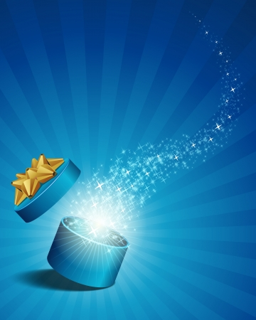 Open verkennen geschenk met fly sterren vector achtergrond Vector Illustratie