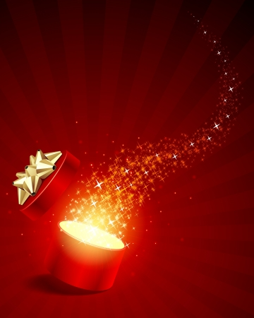 Aprire esplorare regalo con volo vettore sfondo stelle Vettoriali