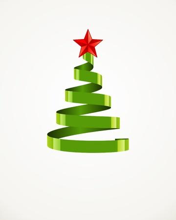 glisten: Новогодняя елка из ленты с фоном звезды вектор