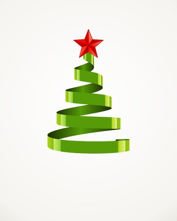 year curve: Christmas tree from ribbon with star vector background