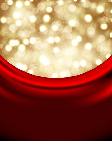 snowfalls: Vector Christmas background with red silk Illustration
