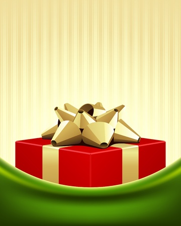 Red gift with gold bow Christmas vector background Vector