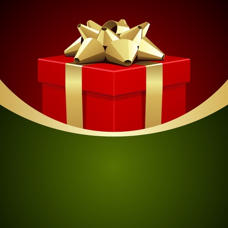 green bow: Red gift with gold bow Christmas vector background
