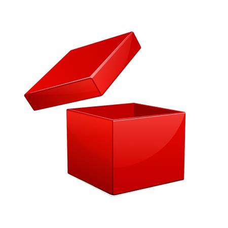red gift box: Open red gift box vector illustration Illustration