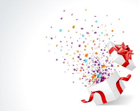 Open verkennen geschenk met vlieg sterren vector achtergrond Vector Illustratie