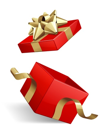 Vector open red gift box with glossy gold bow