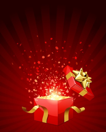 magic box: Open explore gift with fly stars vector background