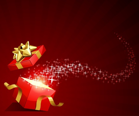 red gift box: Open explore gift with fly stars vector background