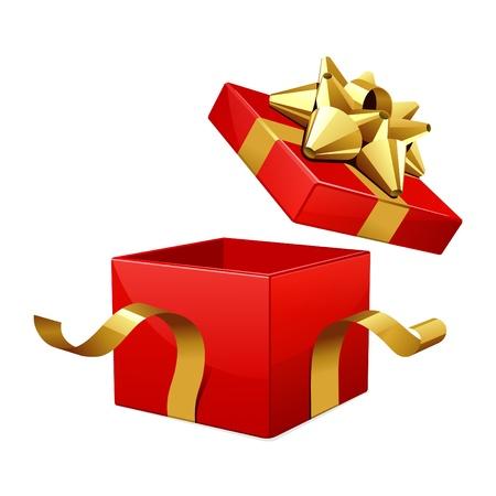 fiocco oro: Vettore di aprire la scatola regalo rosso con fiocco oro lucido