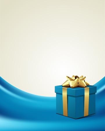 beige stof: Blue gift met gouden strik op zijde vector achtergrond Stock Illustratie