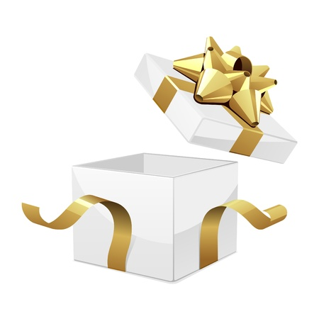 gift box open: Vector white open gift box with glossy gold bow