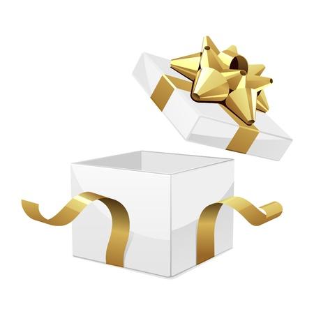 fiocco oro: Vettoriale confezione regalo aperto con fiocco in oro lucido Vettoriali