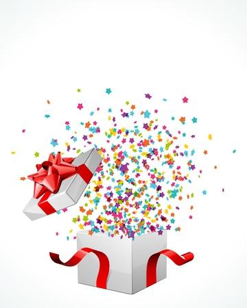 Open verkennen geschenk met fly sterren vector