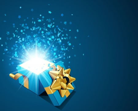 Open blue explore gift with fly stars vector background
