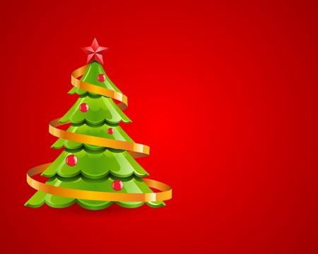 glisten: Рождество глянцевый дерево с красной звездой вектора карты