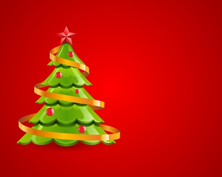 glistening: Christmas glossy tree with red star vector card