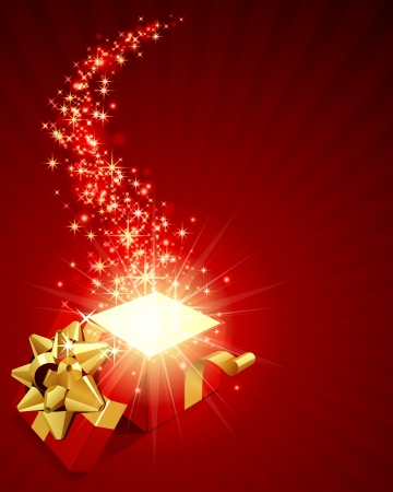 Abrir explorar regalo con mosca estrellas vector de fondo Foto de archivo - 10540920