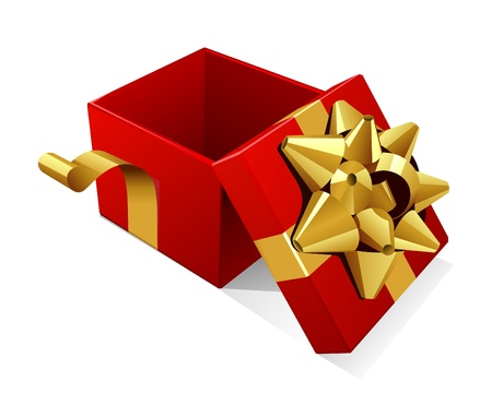 Open empty red gift with gold bow vector illustration Illustration