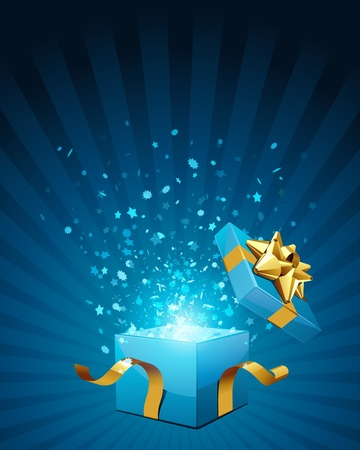 light box: Open blue explore gift with fly stars vector background