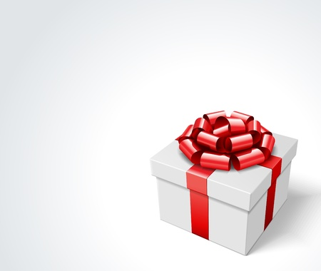 Gift box with red bow isolated on white Stock Vector - 10671088