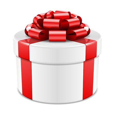 cadeaupapier: Geschenkdoos met rode strik op wit wordt geïsoleerd Stock Illustratie