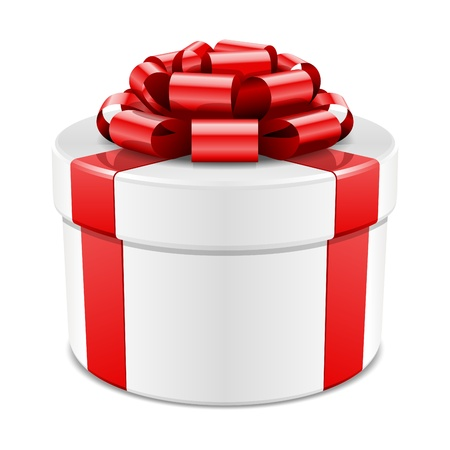 wedding gift: Gift box with red bow isolated on white