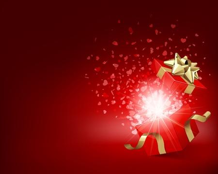 Open geschenk met vuurwerk van confetti Vector Illustratie