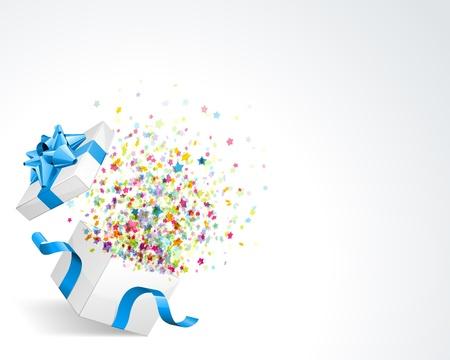 Open geschenk met vuurwerk van confetti Stock Illustratie