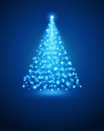 season greetings: Christmas tree from light