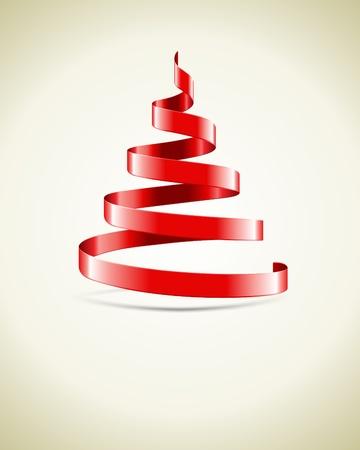 나선: 빨간 리본 벡터 배경에서 크리스마스 트리
