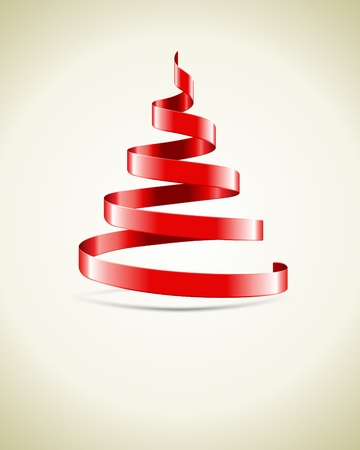 year curve: Christmas tree from red ribbon vector background