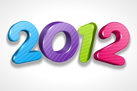 Happy new year 2012 3d message vector sign. Eps 10. Stock Vector - 10671148