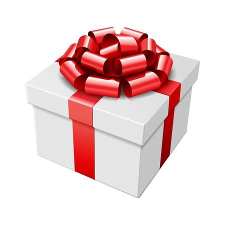 Geschenkbox mit roter Schleife auf weißem isoliert. Vector illustration eps 10.