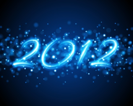 Happy new year 2012 message from neon background. Vector