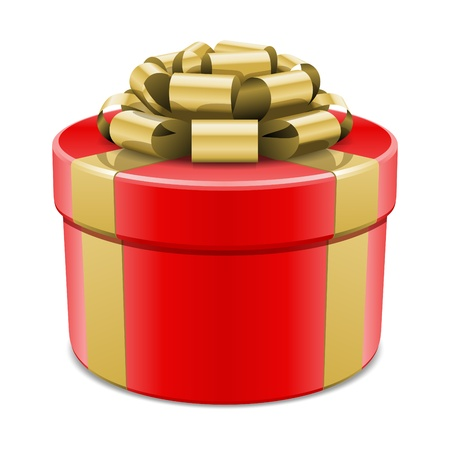 Red gift box with gold bow isolated on white. Vector illustration eps 10. Stock Vector - 10674016
