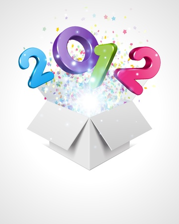 Happy new year 2012 3d message fly fro open box vector background Stock Vector - 10671147