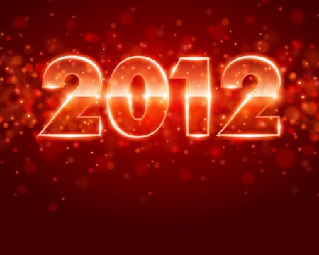 Happy new year 2012 message from neon background. Stock Vector - 10671152