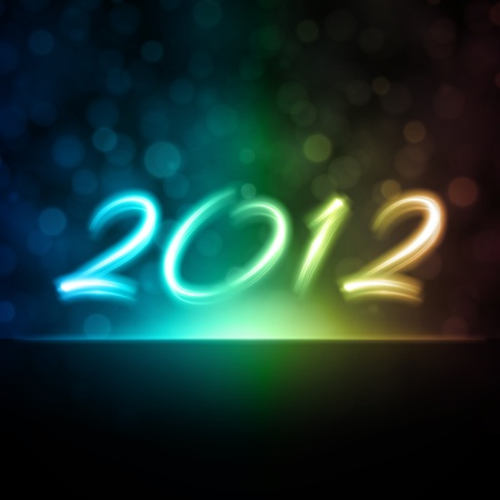 Happy new year 2012 message from neon background. Stock Vector - 10671153
