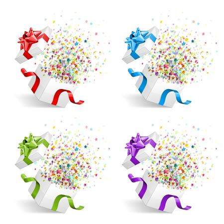 explosie: Open cadeau met vuurwerk van confetti vector designelementen instellen