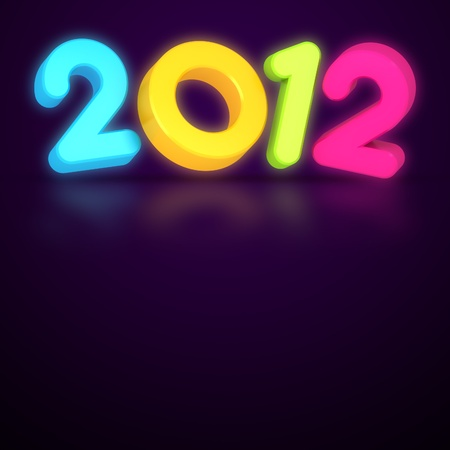 3d colorful Happy new year 2012 message photo