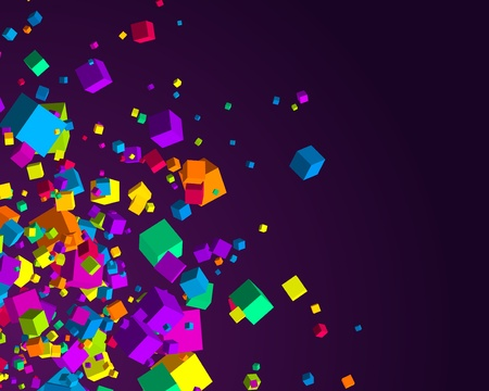 chaos: Fly colorful 3d cubes background