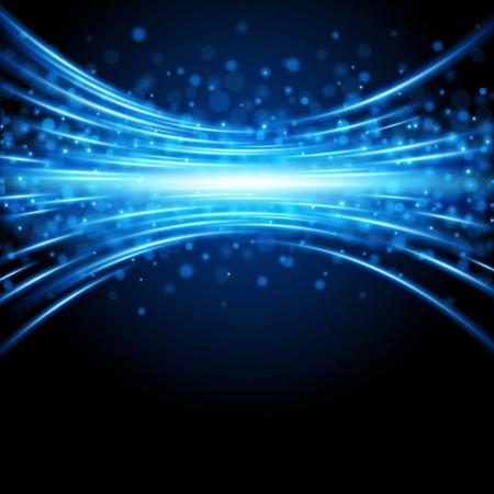 レンズ効果の背景を持つ青の滑らかな光のライン