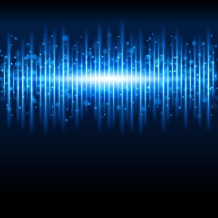 geluid: Abstracte blauwe golfvorm achtergrond Stock Illustratie