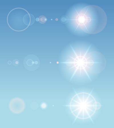 Lens flare set with transparent easy replace background and edit colors. design elements. Vector