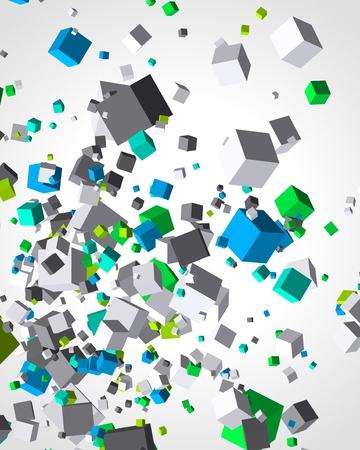 poligonos: Volar fondo colorido cubos 3d