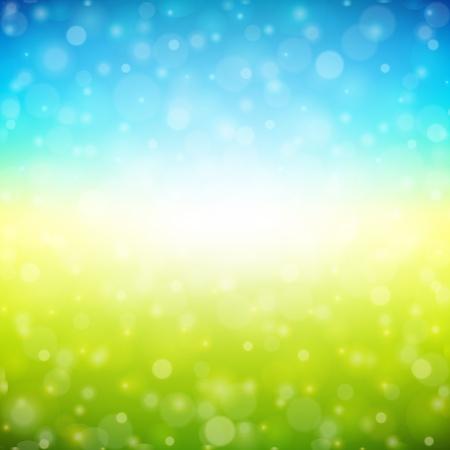 prato e cielo: Bokeh luce di fondo Vettoriali