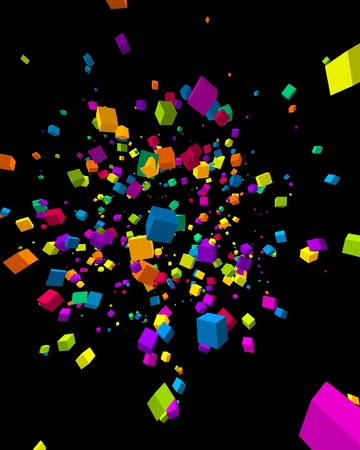 Fly colorful 3d cubes background Stock Vector - 10964730