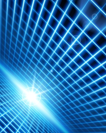 Virtual space with light wire lines background Vector